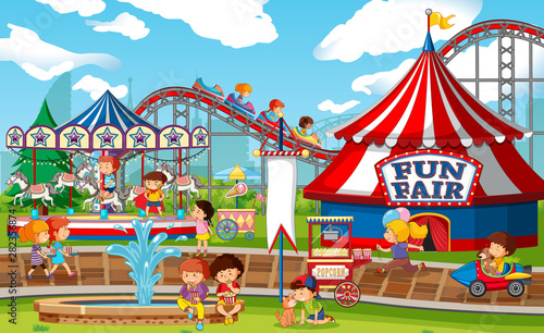 In de dag Kids An outdoor funfair scene