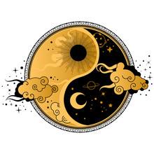 Yin Yang Tattoo Art Style. Bohemian Logo, Badge, Sign With Sun,moon And Clouds.