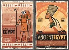 Ancient Egyptian Pharaoh Sphinx, Horus, Nefertiti