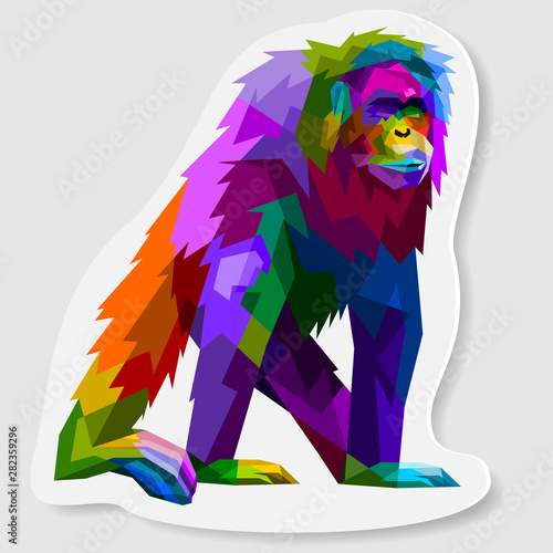 Платно  sticker of colorful orangutan on pop art