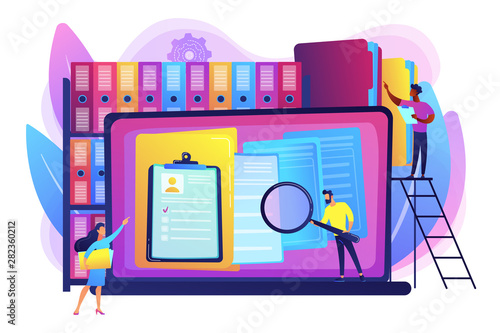 Obraz Organized archive. Searching files in database. Records management, records and information management, documents tracking system concept. Bright vibrant violet vector isolated illustration - fototapety do salonu