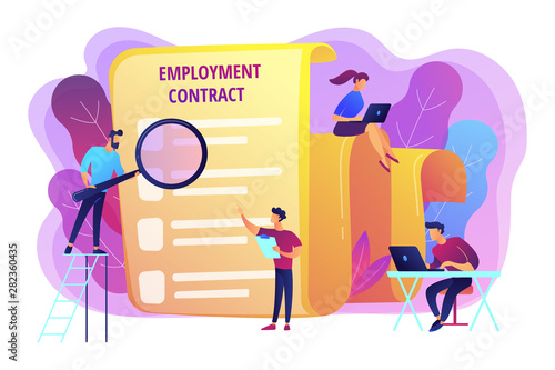 Fototapeta Employee hiring. Business document. HR management. Employment agreement, employment contract form, employee and employer relations concept. Bright vibrant violet vector isolated illustration obraz