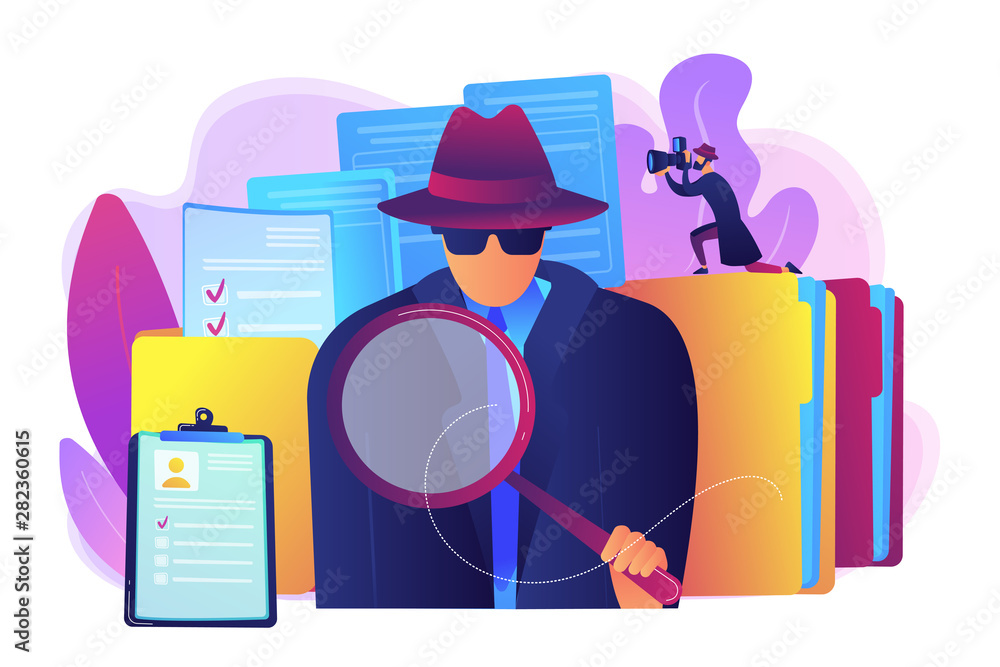 Fototapeta Secret agent searching clues and spying investigating case. Private investigation, private detective agency, private investigator services concept. Bright vibrant violet vector isolated illustration