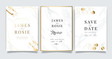 White Marble Wedding Invitation, RSVP, Thank You Cards. Vector Elegant Rustic Template. Swirls Of Marble Or The Ripples Of Agate. Liquid Marble Texture And Golden Metallic. Fluid Art.