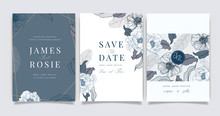 Navy Blue Luxury Wedding Invitation, Floral Invite Thank You, Rsvp Modern Card Design In White Flower With  Leaf Greenery  Branches Decorative Vector Elegant Rustic Template