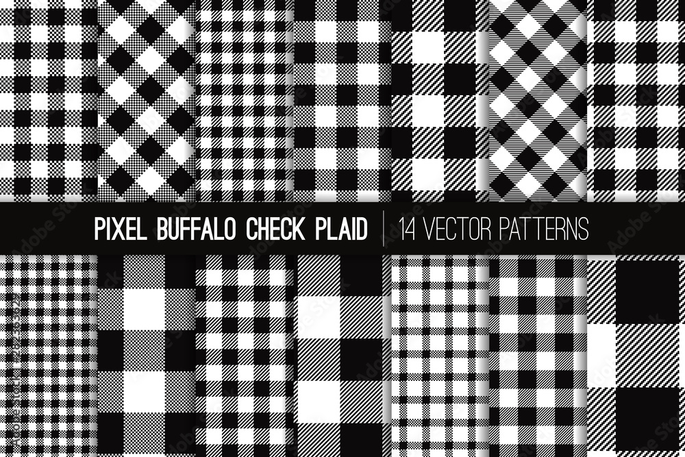 Fototapeta Black and White Buffalo Check Plaid Vector Pixel Patterns. Flannel Shirt Textile Prints Variety Pack. Trendy Fashion Check Textures. Hipster Style Backgrounds. Repeating Pattern Tile Swatches Included