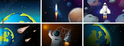 In de dag Kids Set of space scenes
