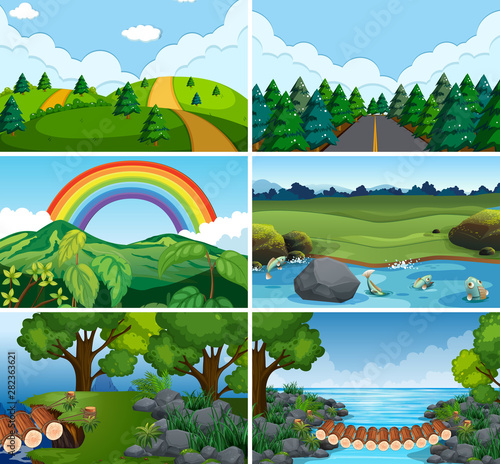Set of nature scenes