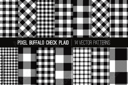Black and White Buffalo Check Plaid Vector Pixel Patterns. Flannel Shirt Textile Prints Variety Pack. Trendy Fashion Check Textures. Hipster Style Backgrounds. Repeating Pattern Tile Swatches Included