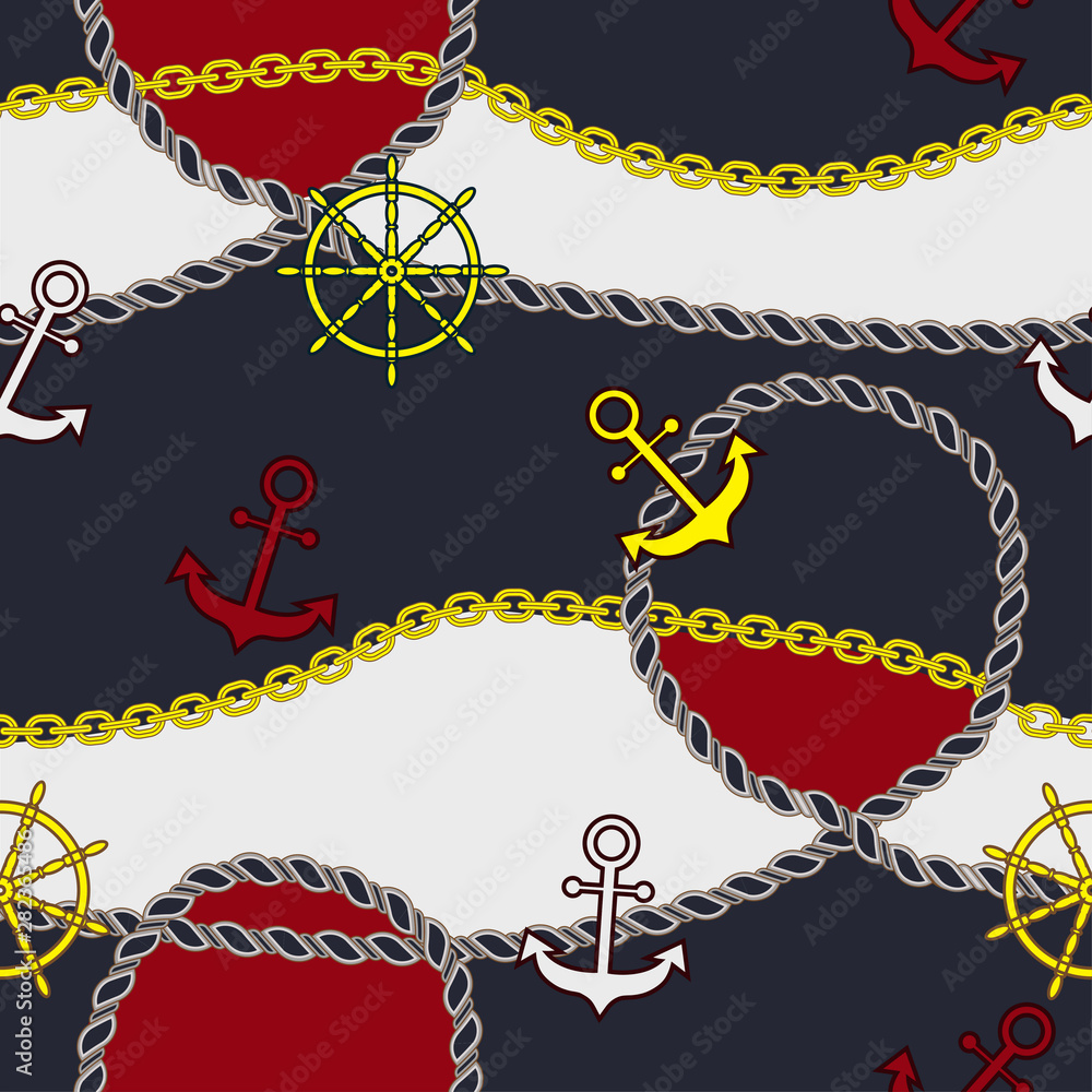 Pattern of marine parts on red and blue background