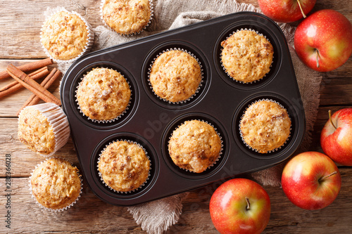 Fototapeta Rustic style fresh apple muffins with cinnamon close-up on the table. Horizontal top view obraz