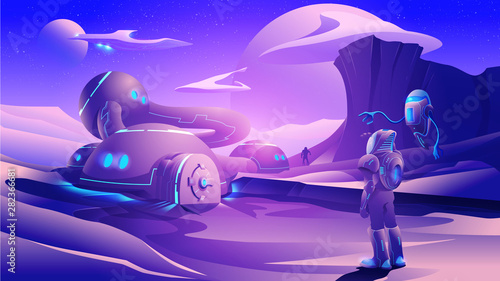 An illustration of sci-fi scene, humankind are colonizing on a far-away planet in the universe Fototapete