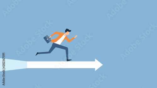 Fototapeta flat vector illustration businessman speed running to target success concept