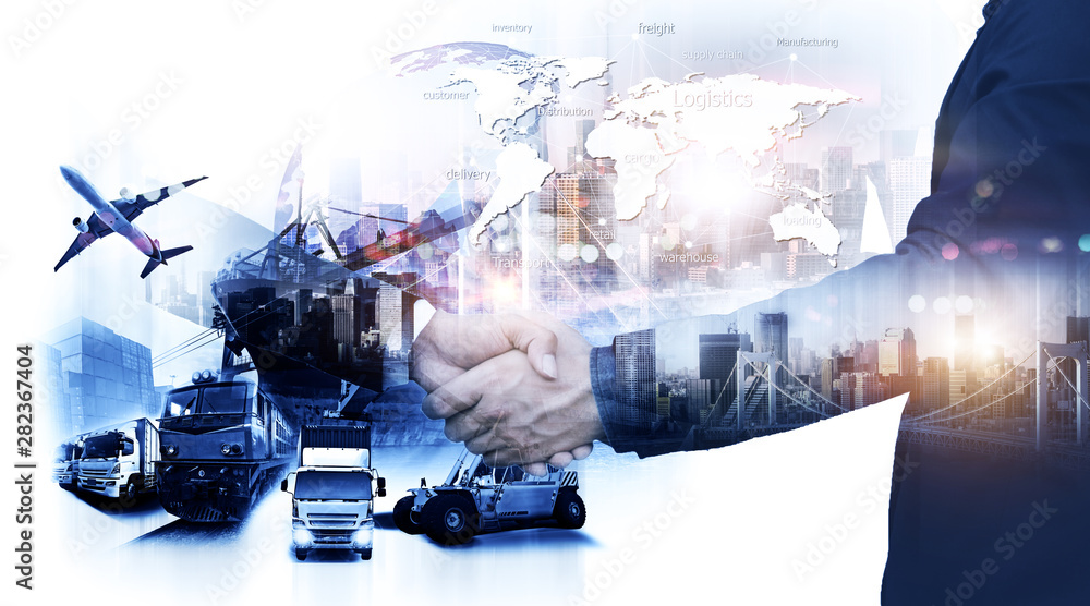 Fototapety, obrazy: Business people shaking hands, success business of Logistics Industrial Container Cargo freight ship for Concept of fast or instant shipping, Online goods orders worldwide