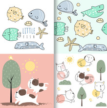 Cute Baby Fish And Dog Seamless Pattern,for Fabrics, Textiles, Children's Wear, Wrapping Paper,vector Illustration