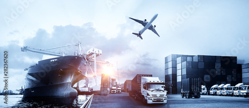 Poster Avion à Moteur Container truck in ship port for business Logistics and transportation of Container Cargo ship and Cargo plane with working crane bridge in shipyard at sunrise, logistic import export and transport