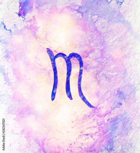 Fotobehang - Hand drawn horoscope astrology symbols, color background.