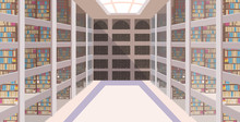 Modern Library Corridor Hall Interior Empty No People Bookstore With Bookshelves Flat Horizontal