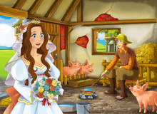 Cartoon Scene With Princess And Farmer Rancher In The Barn Pigsty Illustration For Children