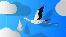 Paper Stork Flying With Baby