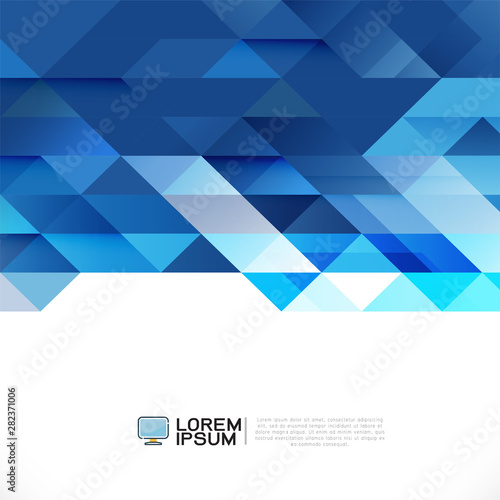 Abstract blue geometric layout template on white background with white space on bottom position. Modern background for business or technology, cover, online presentation website element. Wall mural