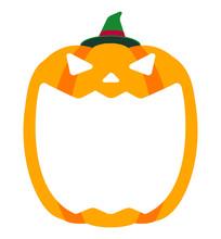 Halloween Pumpkin Head (jack O Lantern) Illustration (mouth Open) / Text Space