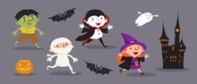 Happy Halloween, A Set Of Cute Characters For Your Festive Design. Witch, Vampire, Mummy, Ghoul, Dead Man, Ghost, Bat, Castle, Pumpkin. Isolated Vector Illustration