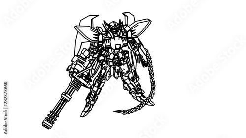Foto op Aluminium Art Studio Sci-fi mech soldier standing. Military futuristic robot. Mech controlled by a pilot. Scratched metal armor robot. Mech Battle.