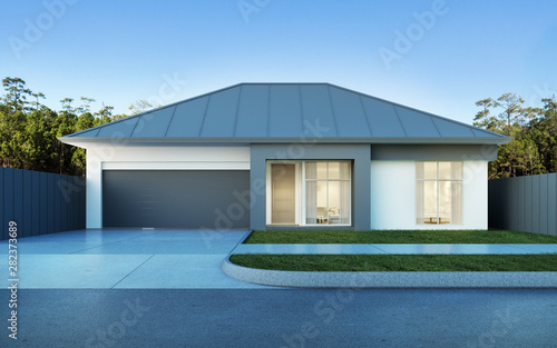 View Of Modern House In Australian Style On Pine Forest And