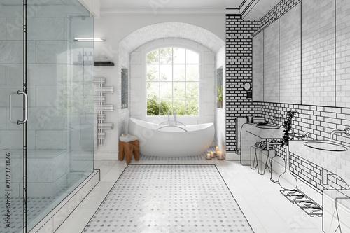Carta da parati  Renovation of an old building bathroom (vision) - 3d visualization