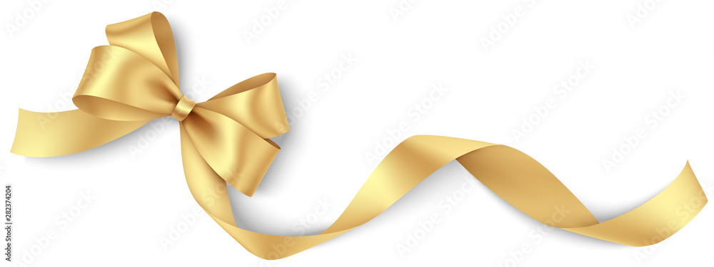 Fototapety, obrazy: Decorative golden bow with long ribbon isolated on white background. Holiday decoration. Vector illustration