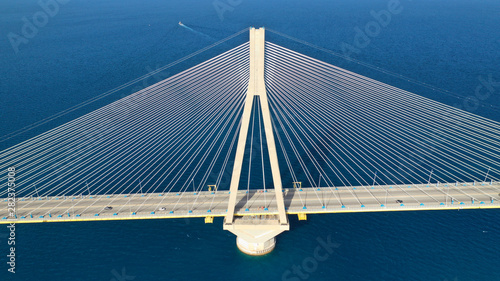 Cuadros en Lienzo  Aerial drone photo of world famous cable suspension bridge of Rio - Antirio Hari