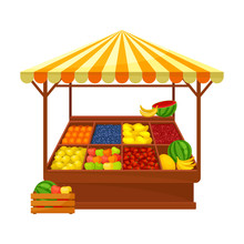 Tent For The Sale Of Fruit. Vector Illustration On White Background.