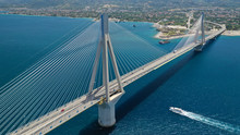 Aerial Drone Photo Of Modern Cable Anti Seismic Bridge Crossing Deep Blue Sea