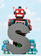 canvas print picture - retro robots holding a big  metal letter  S with blue sky