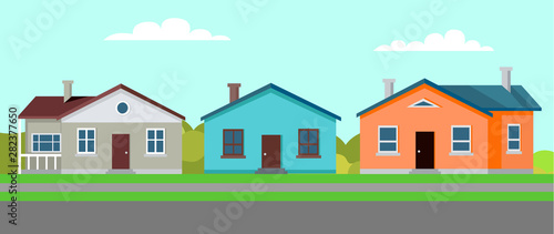 Quiet town with several buildings vector, residence and estate with greenery and Tableau sur Toile