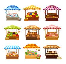 Set Of Street Market Stalls Wi...