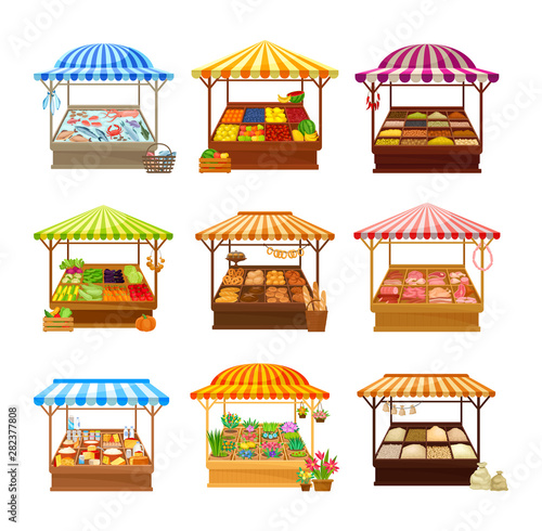 Set of street market stalls with various products Poster Mural XXL