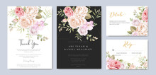 Beautiful Watercolor Wedding Invitation Card With Floral And Leaves Background Template