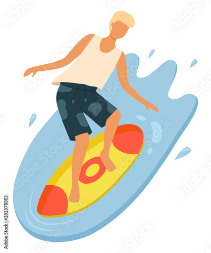 Photo sur Toile Les Textures Male surfer balancing on board. Young boy with blonde hair wearing t-shirt and shorts surfing in ocean. Guy in swimming trunks doing water sport vector. Summertime activity