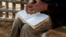 Farmer Reading The Bible Durin...