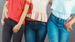 Women hips wearing denim trousers