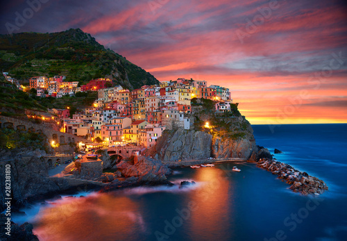 Recess Fitting Night blue Famous city of Manarola in Italy - Cinque Terre, Liguria