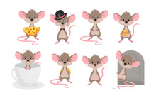 Set A Cute Mouse In Different ...