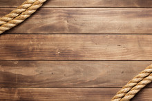 Ship Rope At Wooden Background...