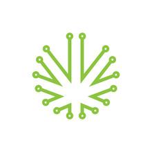 Cannabis Leaf Tech Flat Logo Icon Vector