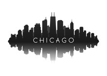 Chicago Skyline With City Illustration Silhouette With Reflection