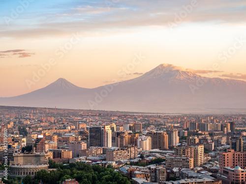 Poster Cappuccino Yerevan buildings and Mount Ararat on summer evening
