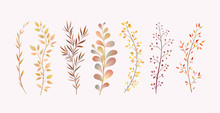 Imitation Of Watercolor Twigs. Decor For The