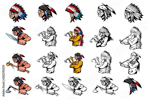 Tela Set of American Indian Chief in different poses